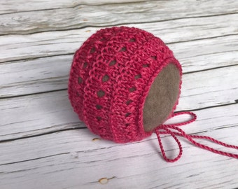 Ready to ship Newborn bonnet, knit newborn hat, newborn photo prop