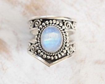 Cut Navajo Ring, Rainbow Moonstone Ring, Moonstone Ring Silver Moonstone Ring, Statement Rings, Personalised, Gift for Her, Boho Rings