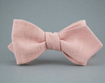 Blush Self Tie Bow Tie Linen Bow Tie Freestyle Bow Tie Blush Bow Tie Pink Bow Tie Pink Self Tie Bow Tie Blush Slim Diamond Point Bow Tie Men