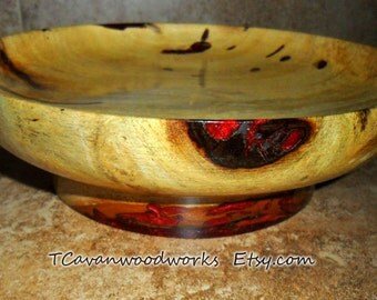 Artistic wood bowl inlaid red iridescent resin  red pedestal bowl, hand turned wood bowl, turned wood bowls,  wood bowl gifts, wedding gifts