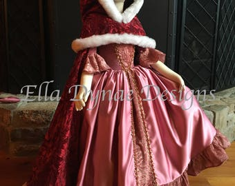 Belle Cape in Red Velvet with Faux Fur Trim - Disney Inspired from Beauty and the Beast