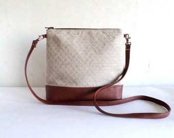 Crossbody leather bag, Linen cross body bag, Geometric print tote bag, Messanger bag, Vegan leather bag, Brown bag
