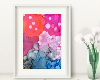 Original abstract painting pink blue grey energy ink painting
