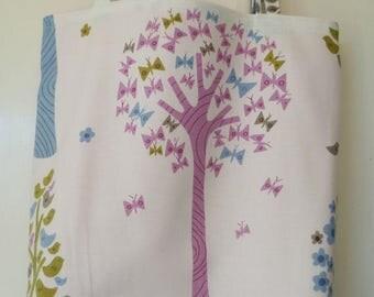 Shopping bag - trees print, pink lining