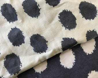 Blue and Cream Ikat Fabric - Polka Dot Linen Fabric by the Yard