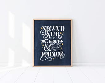 Nursery PRINTABLE Art - Second star to the right - Peter Pan Quote - Navy Blue - Nursery Decor - Baby Shower Gift - Art Print - SKU:6130