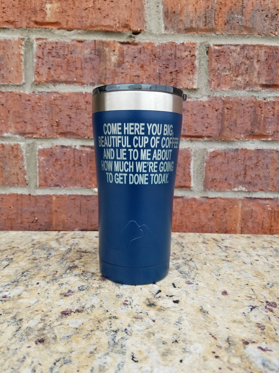 Navy Powder Coated Tumbler, Laser Engraved