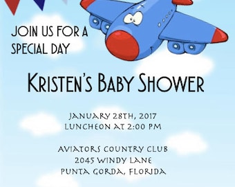 Up, Up and Away Baby Shower Invitation