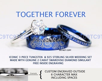 BLUE Doctor Who Inspired His 8mm Tungsten and Hers 3mm 925 Sterling Silver 2 Carat Solitaire CZ Wedding Ring Set, Custom Engraved