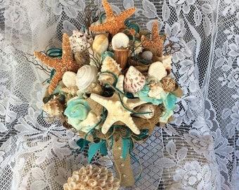 Beach Wedding Bouquet-Beach Bride Wedding Flowers-Aqua/Spa/Ivory Beach Bridal Bouquet-Destination Wedding-Seashell-Beach Wedding-Rustic