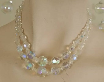 Vintage two strands crystal Aurora Borealis swarovski necklace choker