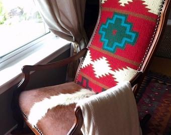 Restored Rustic Vintage Antique Rocking Chair custom upholstered brown cowhide & Red Navajo wool rug design Santa Fe style
