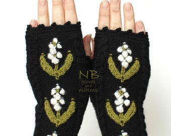 Knitted Fingerless Gloves, Black, Lily Of The Valley,Accessories, Gloves & Mittens, Gift Ideas,