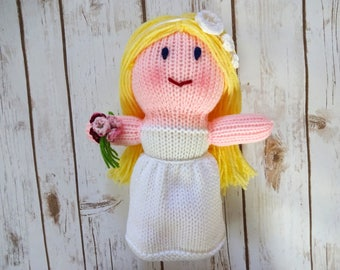 Blonde Bride Doll with Dark Blue Eyes, Handmade Knit Dolly, Soft Plush Toy, Flower Girl Gift