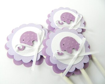 purple elephant cupcake topper lavender elephant shower purple baby shower baby cupcake toppers purple baby shower