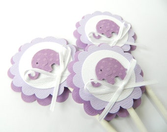 Purple Elephant Cupcake Topper Lavender Elephant Shower Purple Baby Shower Baby Cupcake Toppers Purple Baby Shower Decorations • Set of 12