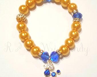 Blue and Gold Poodle Bracelets, Sorority Bracelets, Stretchy, Womens Bracelets, Handmade, Custom