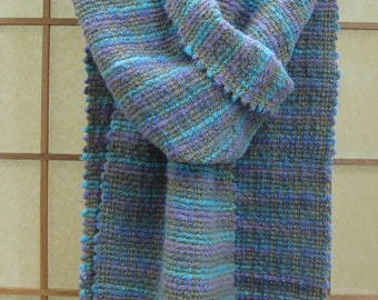Iridescence Scarf handwoven cotton rayon medium-weight soft cozy drapey blues turquoise purple gold