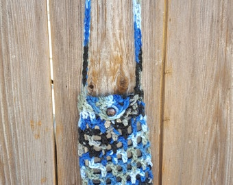 Cell Phone Holder on neck strap--multicolored blues, white, beige and black