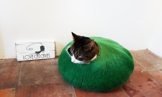 In the Meadow Larger size Cat Igloo Bed Hand Felted wool - Free Cat Ball