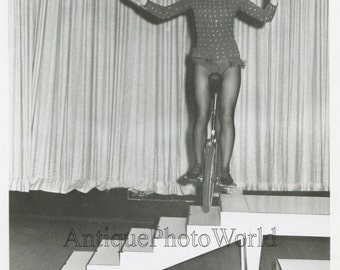 Carrel Keith woman on unicycle circus performer vintage photo