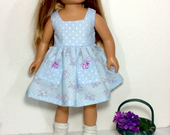 18 Inch Doll Dress, Blue Polka Dot and Floral Dress, Summer Doll Clothes