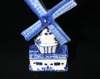 Vintage Hand painted Ceramic Blue Delft Windmill with Turning Blades made in Holland