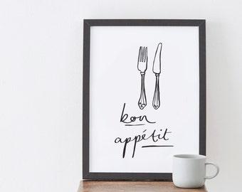A4 Bon Appétit print - French Kitchen Print