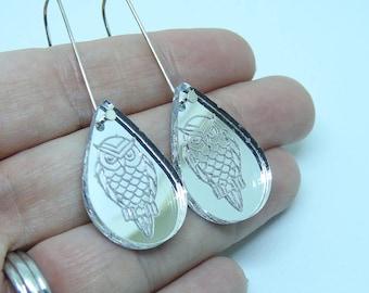 Laser Cut Acrylic Earrings - Mirrored Owl