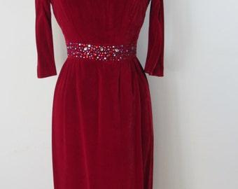 1950s - Early 1960s Joseph Magnin Wine Velvet Dress with Bejeweled Waistline