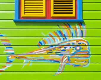 Colourful Caribbean Shack Energetic Colours Graffiti Photograph Print