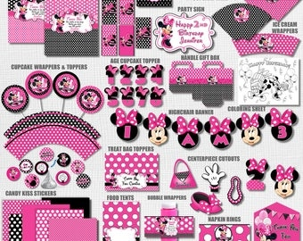 Pink and Black Polka Dot Minnie Mouse Birthday Party Printables, Pink Polka Dot Minnie Mouse Party Decorations, Minnie Mouse Party Decor