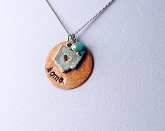 Hand Stamped Necklace | Ohio is Home | Mixed Metal Pendant