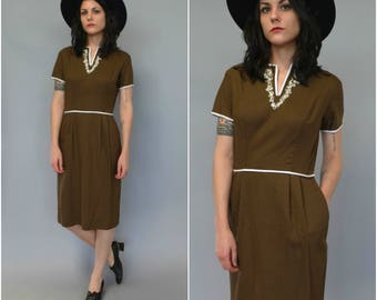 1960s brown cotton shift dress with white trim