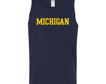 Michigan Wolverines Basic Block Tank Top - Navy