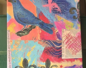 painting, canvas art, collage, happy blue bird and color