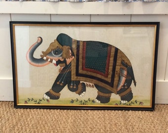 Framed Vintage Watercolor on Silk of Elephant