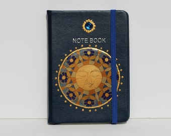 Isla del Sol Note Book Sun dark blue blue golden Dream Diary Travel Journal Wish Agenda Journaling Writers Gift