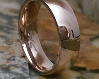 Titanium 6mm Domed Comfort Fit Rose Gold IP Classic Mens Womens Personalized Wedding Band - Promise Ring Womans Ring Engagement Ring AZ201