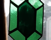 Green Rupee Stained Glass Sun Catcher