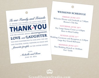 Set of 10 - Doulbe-Sided Gift Tags for Wedding Hotel Welcome Bag - Destination Wedding - Welcome Bag Thank You Tags - Itinerary, Schedule