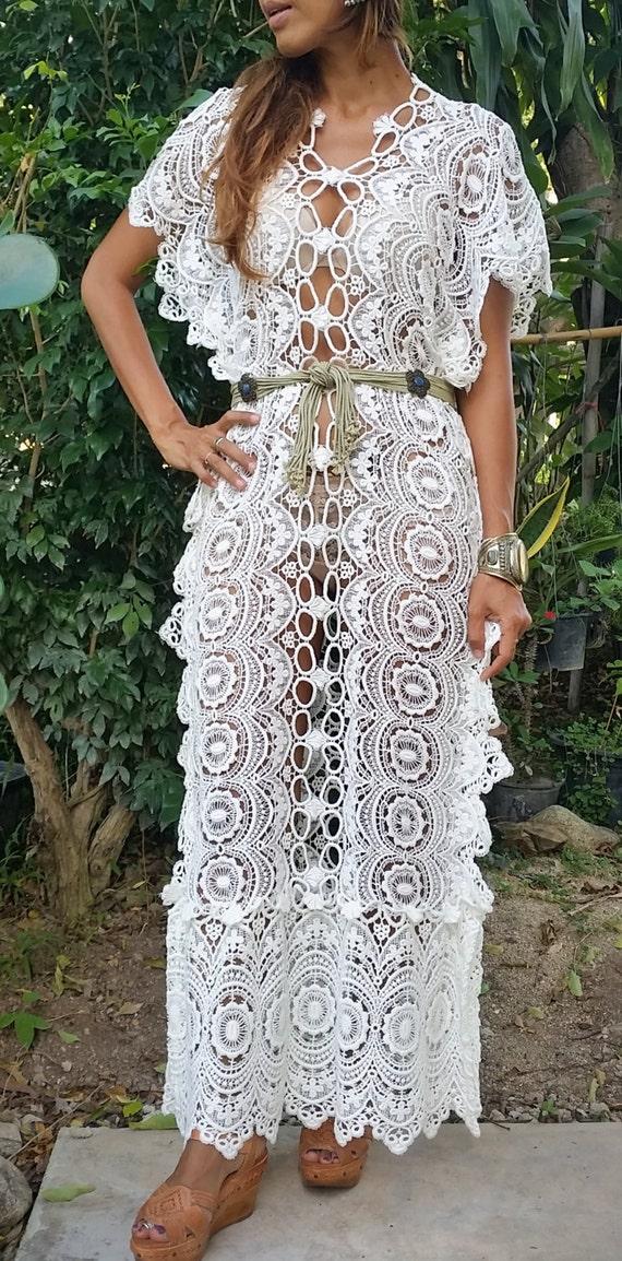 Beautiful white kaftan dress 70s gypsy beach wedding for White kaftan wedding dress