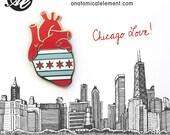 Gold Chicago Flag Anatomical Heart - Hard enamel pin