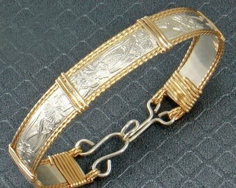 Sterling Silver & 14k Gold Fill Bracelet, Wire Wrap Bracelet, Wire Wrap Jewelry, Silver and Gold Bracelet Women, Personalize Bracelet Bangle