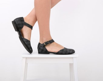 Black Mary Janes flats classic leather shoes women handmade On Sale 15% off
