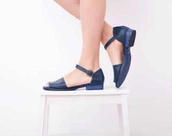 Flat Leather Sandals Women's Blue peep toe sandals Handmade free shipping ADIKILAV  sandals On Sale 20% off