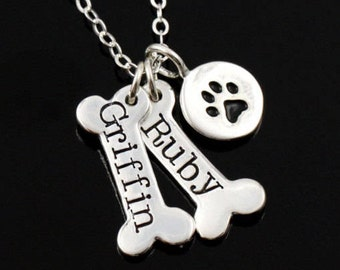 Personalized Dog Bone and Paw Print Necklace, Customize Your Puppy Names • Gift for Dog Lovers •  Memorial • Pet Loss Gift • SILVER OR GOLD