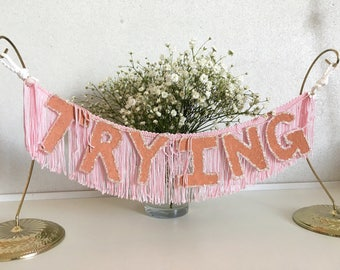Trying FUN CULT Fringe Banner | trying garland, wall hanging banner, fringe wall hanging, office decor, dorm room decor, funny banner