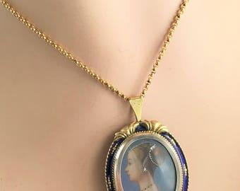 18 karat Miniature Portrait Handpainted Pin / Pendant - with enamel and gemstones