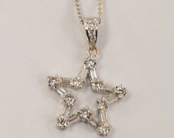 Diamond Star Necklace - 14 karat white gold